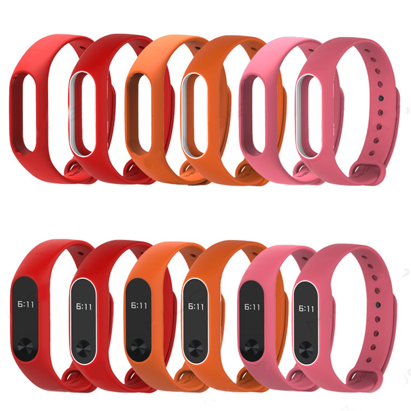 Colorful Miband 2 Strap  Reloj Inteligente Top Quality Silicone Double Color Comfortable Wrist Strap For Xiaomi Mi Band 2