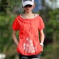 Camiseta de la mujer nuevo estilo de moda tops verano camisetas casual dress plus size clothing l-4xl capucha loose tops de algodón de las mujeres camisas