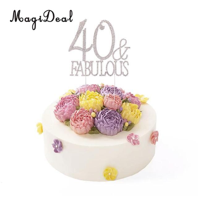 Glitter 40 Fabulous Cake Topper Crystal Rhinestone Alloy 40th