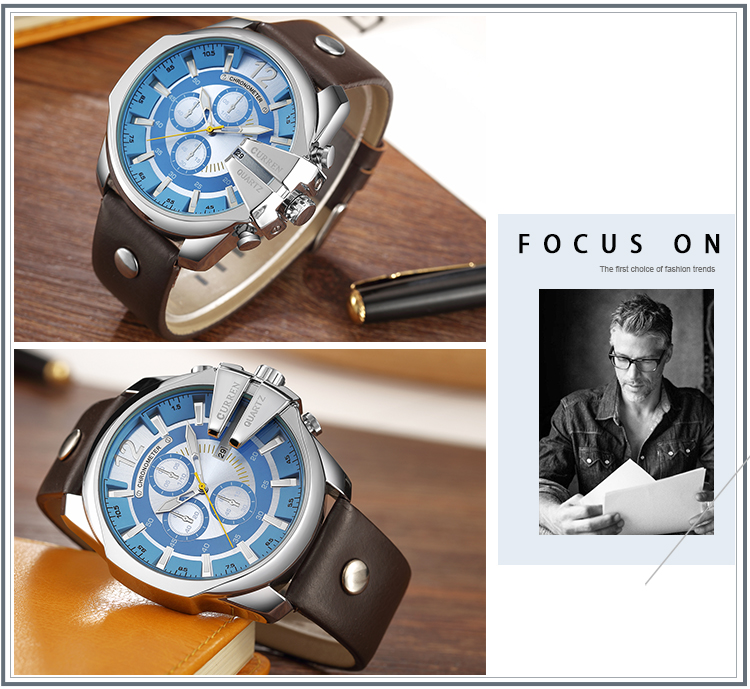 CURREN Fashion Leather Band Luxury Quartz Watch for Men