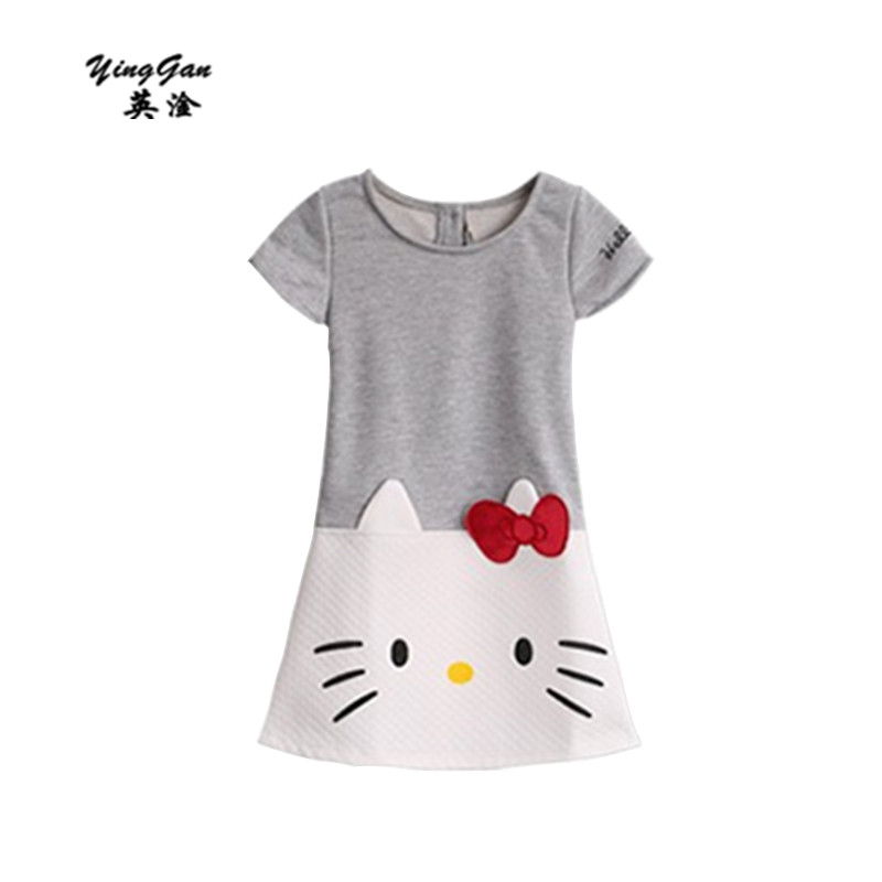 HOT 2016 New High Quality Female Children's Wear The Dress With Short Sleeves Printed Embroidered Cotton Fleece Cartoon Cat 3-7T the new children s cubs hat qiu dong with cartoon animals knitting wool cap and pile