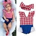 Belababy conjuntos de roupa nova 2017 verão infantil meninas xadrez romper do bebê com bowknot headband do bebê 2 pcs roupas set para meninas