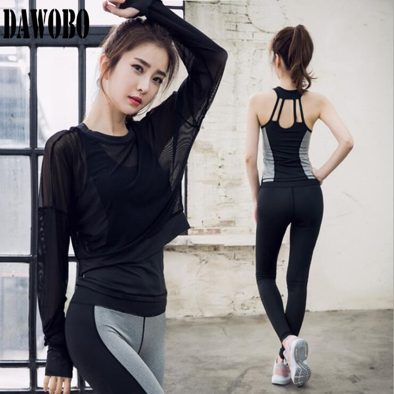 New 3 Piece Set Women Yoga Suit Mesh Top +Yoga T-shirts+Sports trousers Outdoor Fitness Running Clothes Gym Yoga Set new stretch yoga running suits fitness sports woman gym clothe suit short sleeved jogging femme 3 set clothing for women