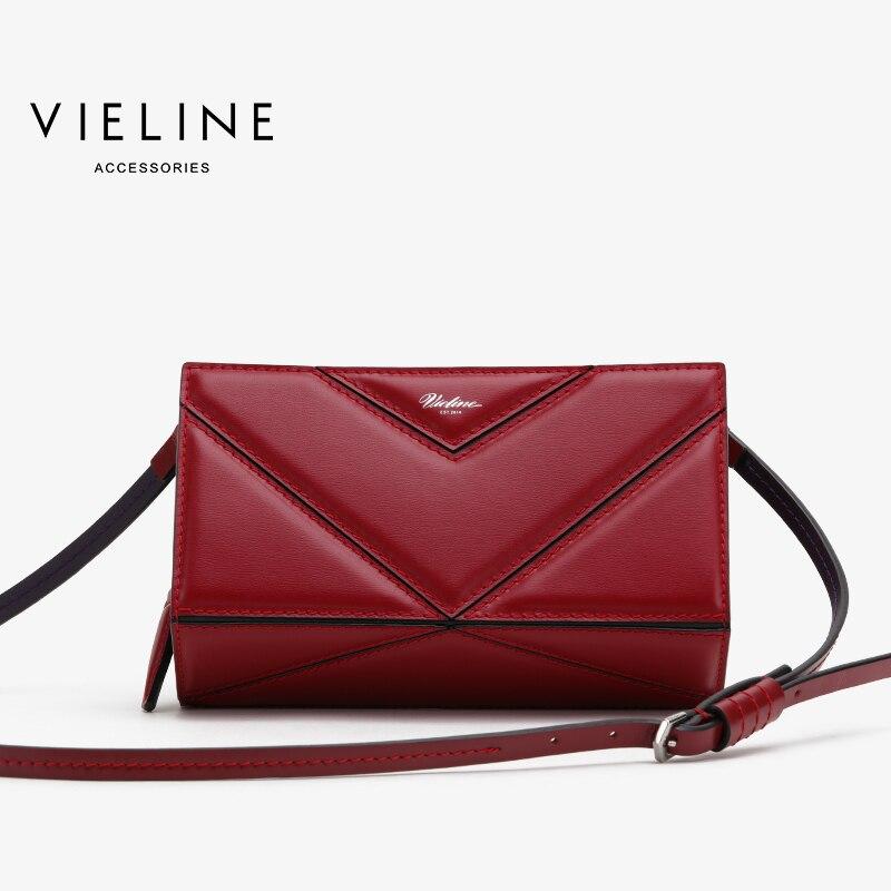 Vieline women genuine leather leather geomet splicing shoulder bag Famous Designer Brand real leather crossbody bag