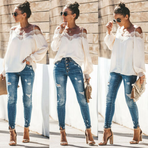 Trendy Women clothes Long Sleeve Casual Loose Ladies Lace Shirts Polyester strap off shoulder Tops one pieces