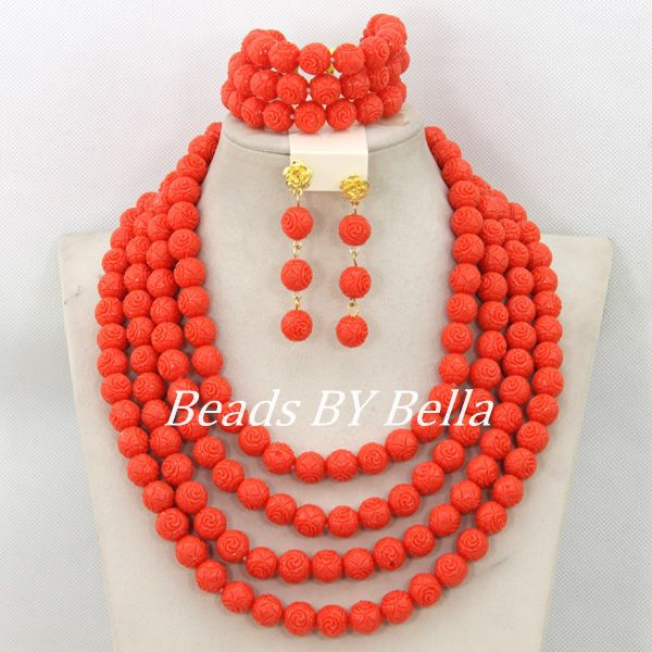 Marvelous Carved Coral Beads Set Dubai Indian Wedding Bridal Jewelry Set Fashion African Beads Jewelry New Free Shipping ABC1128