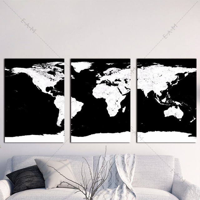 Black and white world map canvas art print painting poster wall black and white world map canvas art print painting poster wall pictures for living room home gumiabroncs Image collections