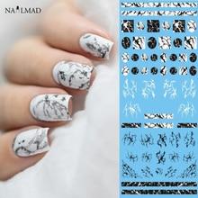 1 sheet NailMAD Steen Marmer Nail Water Decals Transfer Stickers Wit Marmer Nail Art Tattoo Sticker Zwart Marmer Water Slide