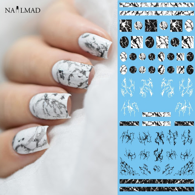 1 Sheet Nailmad Stone Marble Nail Water Decals Transfer Stickers White Art Tattoo Sticker