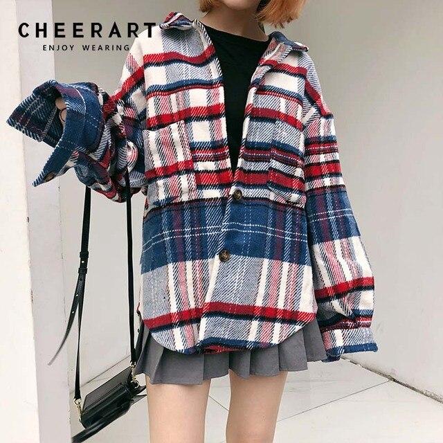 07945ff86e77 Cheerart Tartan Plaid Shirt Women Autumn 2018 Tweed Loose Long Sleeve Blouse  Femme Top Button Up