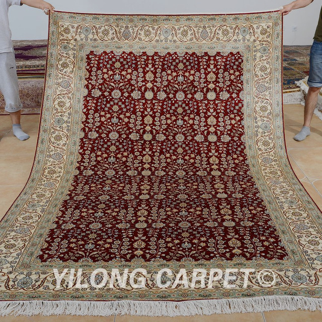Yilong 6 X9 Living Room Red Handmade Carpet Vantage Traditional Hereke Chinese Silk Rug