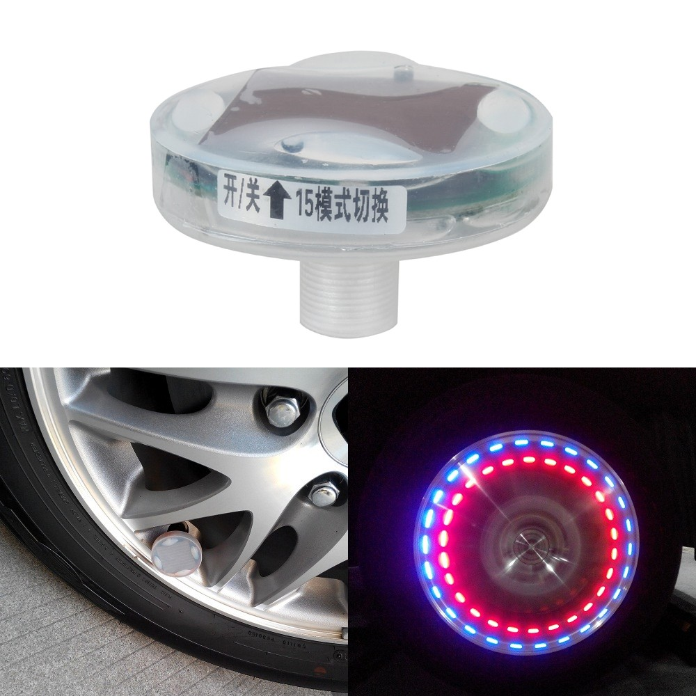 1pc Solar Power Car/ Bike/ Motorcycle Colorful LED Flash Light Wheel Tyre Tire Lamp Decoration Light Cap with Motion Sensors цены онлайн