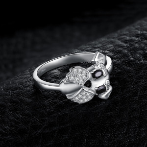 Image 3 - JewelryPalace Schnauzer Dog Genuine Black Spinel Ring 925 Sterling Silver Rings for Women Stackable Ring Silver 925 Jewelry