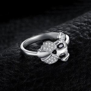 Image 3 - JewelryPalace sznaucer Dog prawdziwa czarna Spinel Ring 925 srebro pierścionki dla kobiet pierścionek do noszenia warstwowego srebra 925 biżuteria