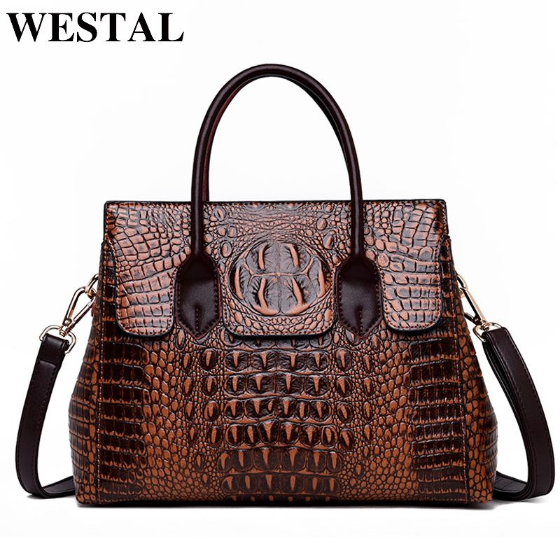 WESTAL Alligator Pattern Women Bags Designer Luxury Handbags Women Bags PU ladies Crossbody Bag for Laptop