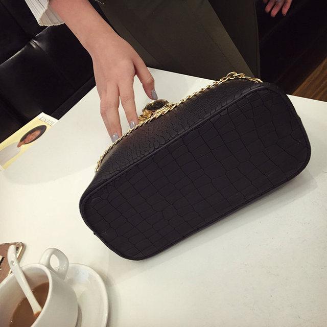 Bolish Vintage Crocodile PU Leather Women Bag Chain Strap Top-handle Bags Fashion Lock Crossbody Bag Small Shoulder Bag