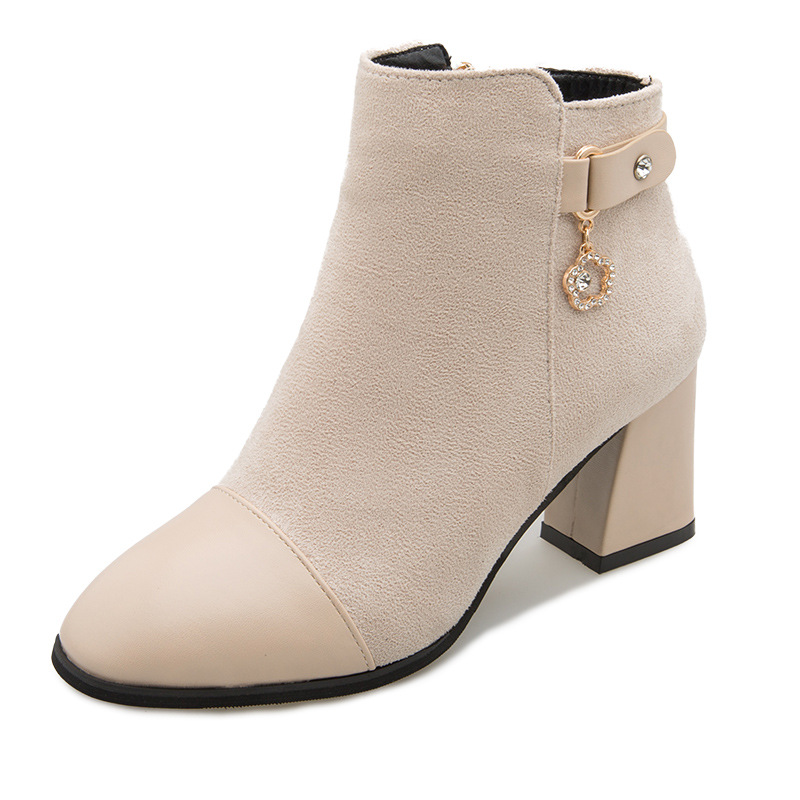 2018 autumn and winter new European and American fashion thick with side zipper womens booties beige 02162018 autumn and winter new European and American fashion thick with side zipper womens booties beige 0216