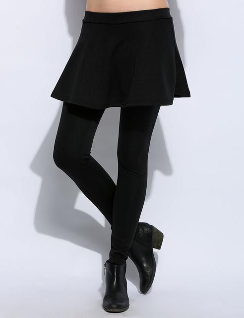 Nova Chegada Mulheres Menina Moda Conveniência Ocasional Elástico Na Cintura Fina Sólida Grosso Estiramento Skinny Balanço Skort Mini Saia Leggings