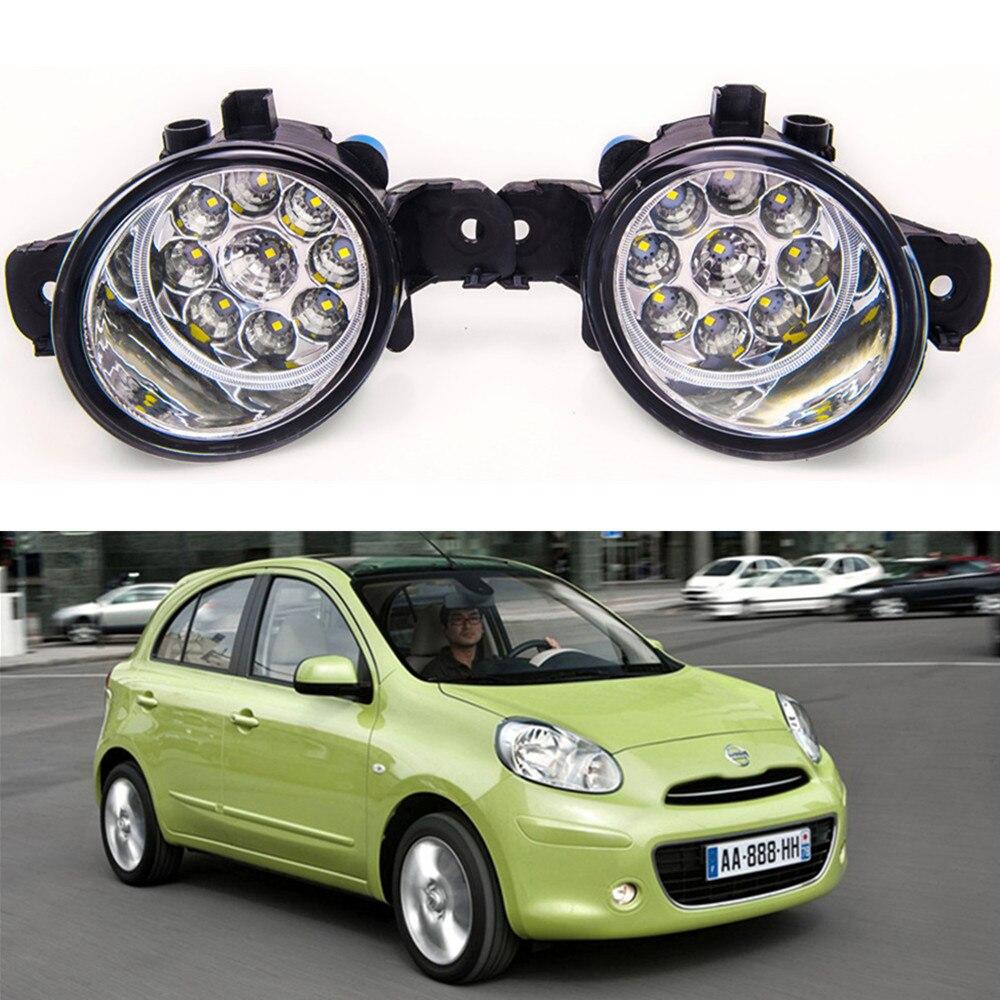 For NISSAN MICRA 2002-2013 Car styling High brightness LED fog lights DRL lights 1SET for lexus rx gyl1 ggl15 agl10 450h awd 350 awd 2008 2013 car styling led fog lights high brightness fog lamps 1set