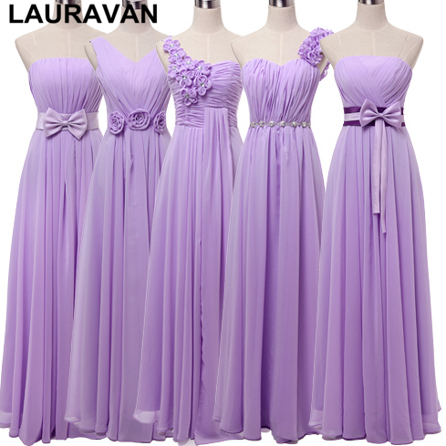 Dress-Gown Robe Bridesmaid-Dresses Lavender Lilac Purple Sister Plus-Size Woman Light