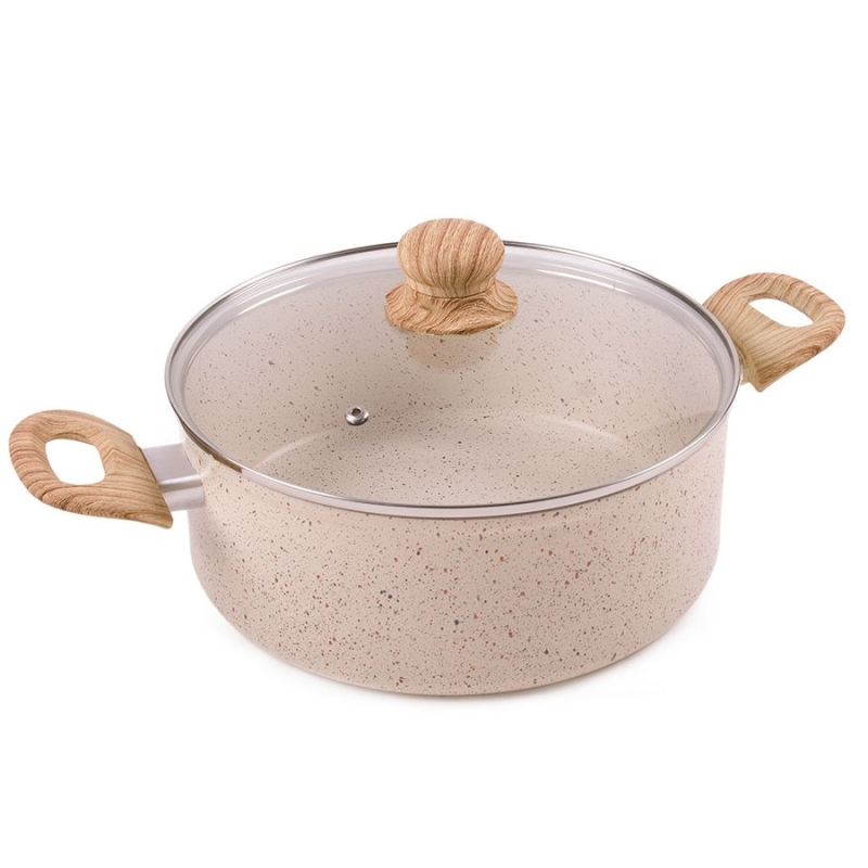 Saucepan with lid Endever Stone-Beige-24C (4, bottom Diameter 24 cm, cast aluminum four-layer ceramic non-stick coating, Suitable for all kinds of plates)