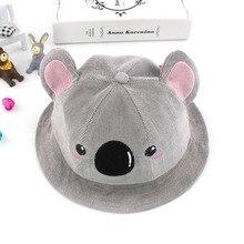 f0386944855 Winter Spring Cotton Baby Bucket Hat Cute Koala Pattern Big Ears Kids Girls  Beach Sun Hats