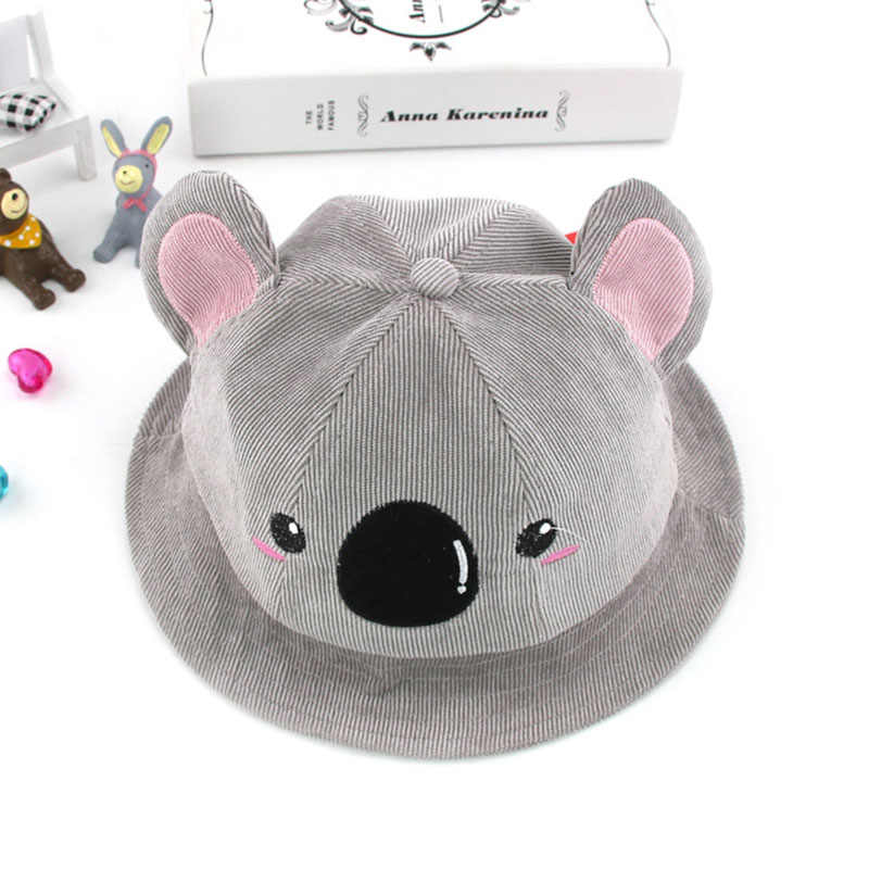 4aa163a6fd0 Winter Spring Cotton Baby Bucket Hat Cute Koala Pattern Big Ears Kids Girls  Beach Sun Hats