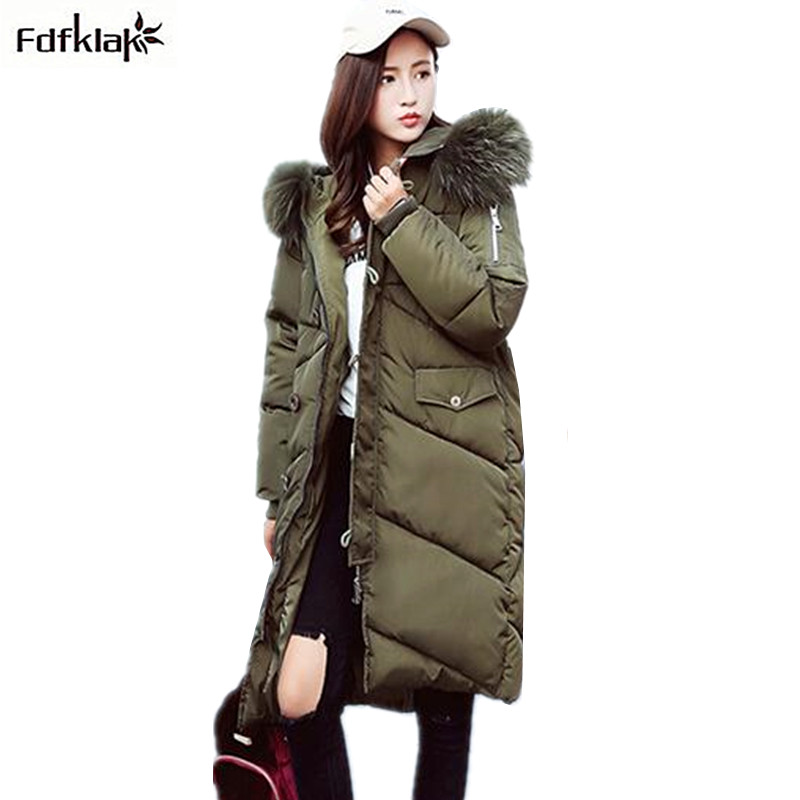 Fdfklak High Quality Female Jacket Women Winter Coat Cotton-padded Thick Warm Parka Womens Winter Jackets manteau femme hiver real fox fur warm hooded padded jacket women solid color casual manteau femme hiver medium long parka slim coat cotton tt3461