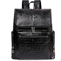 New Men Backpack First Layer Cow Leather Casual Large Capacity Travel Bags Double Zipper Genuine Leather Alligator Backpack