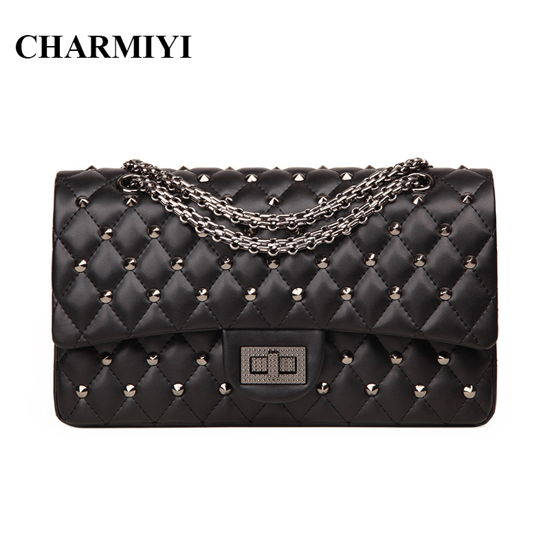 CHARMIYI Luxury Brand Chain Handbags High Quality Leather Black Women Shoulder Bags Vintage Fashion Rivet Women Messenger Bag 2016 new hot luxury plaid women bags handbags high quality leather bags for women shoulder bag famous brand chain shell bag