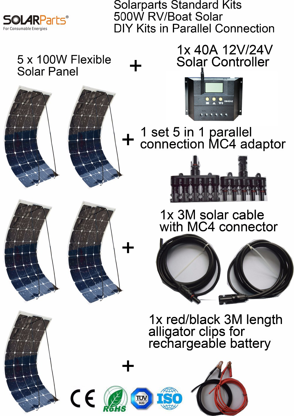 Boguang Standard Kits 500W DIY RV/Boat Kits Solar System 100W flexible solar panel+controller+cable outdoor light led module. boguang 500w semi flexible solar panel solar system efficient cell diy kit module 50a mppt controller adapter mc4 connector