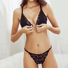 Sexy solid color lace beauty back underwear ultra-thin no steel ring front buckle triangle cup bra set free shipping