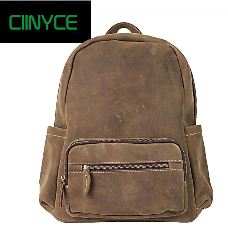 100% Genuine Leather Cowhide Rucksack Male Backpack High Quality Crazy Horse Men Shoulder School Travel Laptop Knapsack bag men s black soft cowhide back pack multifunctional genuine cow leather12 9 inches laptop rucksack male schooltravel shoulder bag