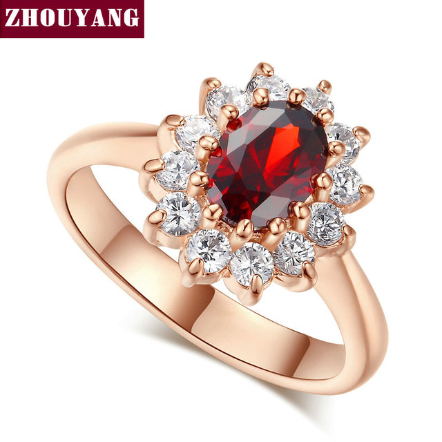 Top Quality ZYR187 Red Crystal Created Red Crystal Wedding Ring Rose Gold Color