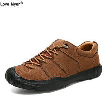 Natural Leather Shoes Men High Quality Comfort Casual Shoes Flats Handmade Footwear Nonslip Rubber Men Shoes744