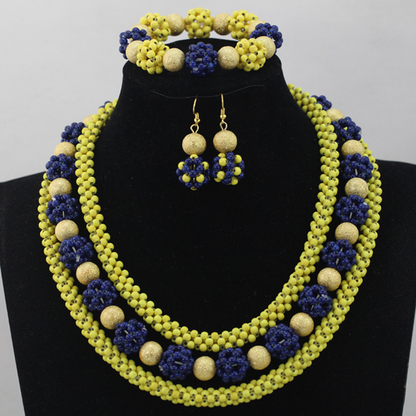 Romantic Yellow and Blue Costume African Jewelry Sets Handmade Beaded Fashion Chunky Necklace Set Free ShippingABL765
