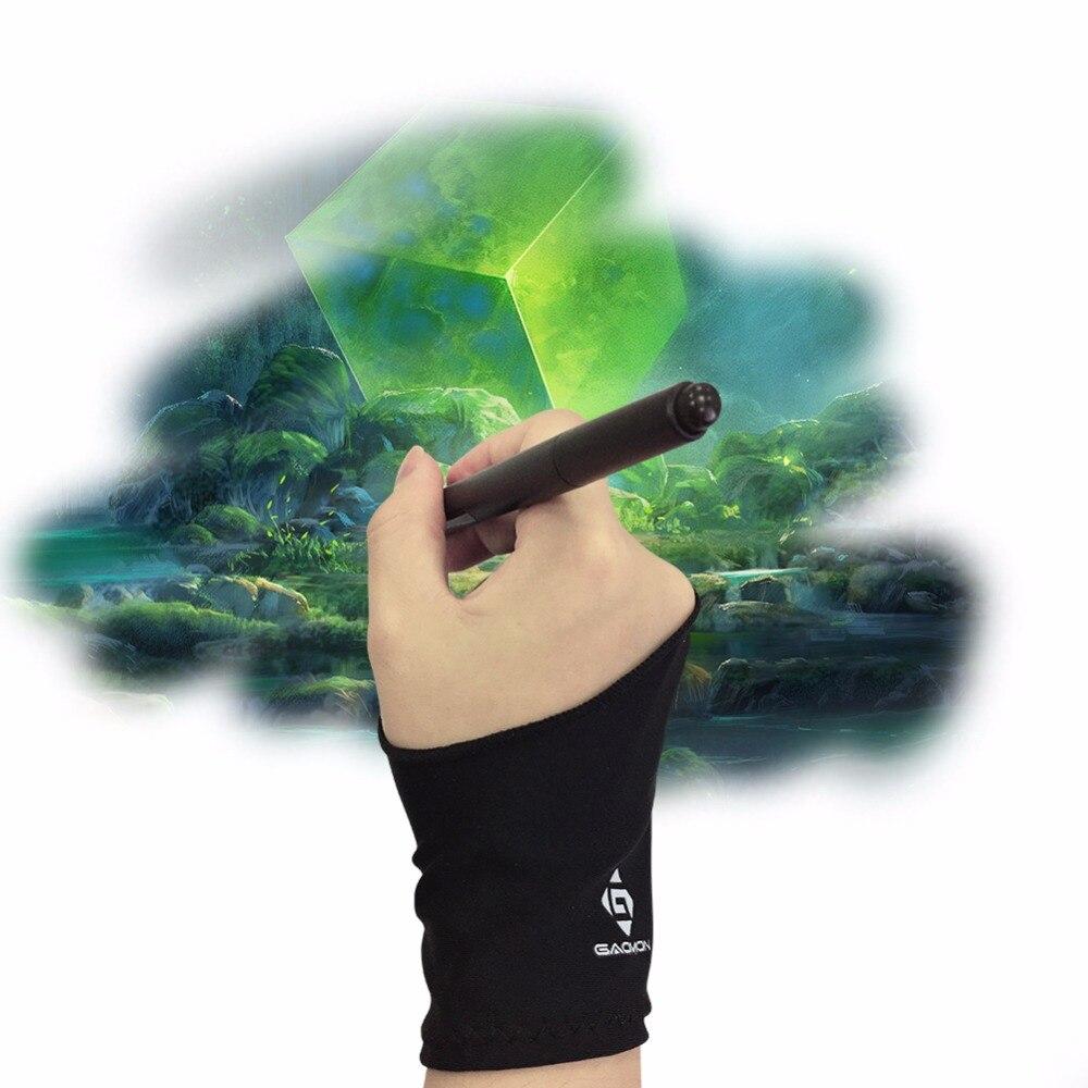 GAOMON Zwei-Finger Anti-Skid Schwarz Künstler Lycra Handschuh für Grafiken Tablet/LED Licht Box/Stift display-Freie Größe
