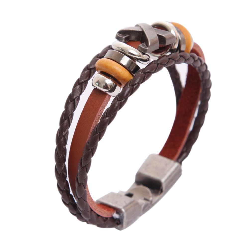 Fashion Leather Bracelet Special Design Three Layers Bracelet Brown Leather Bracelet Punk Style Bracelet For Party