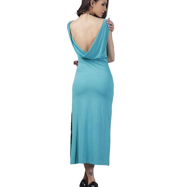 cfae799d60ce5 Women Summer Dresses Vintage Mint Green Casual Sundress Sexy Sleeveless  Scoop Back Split Midi Dress Vestidos
