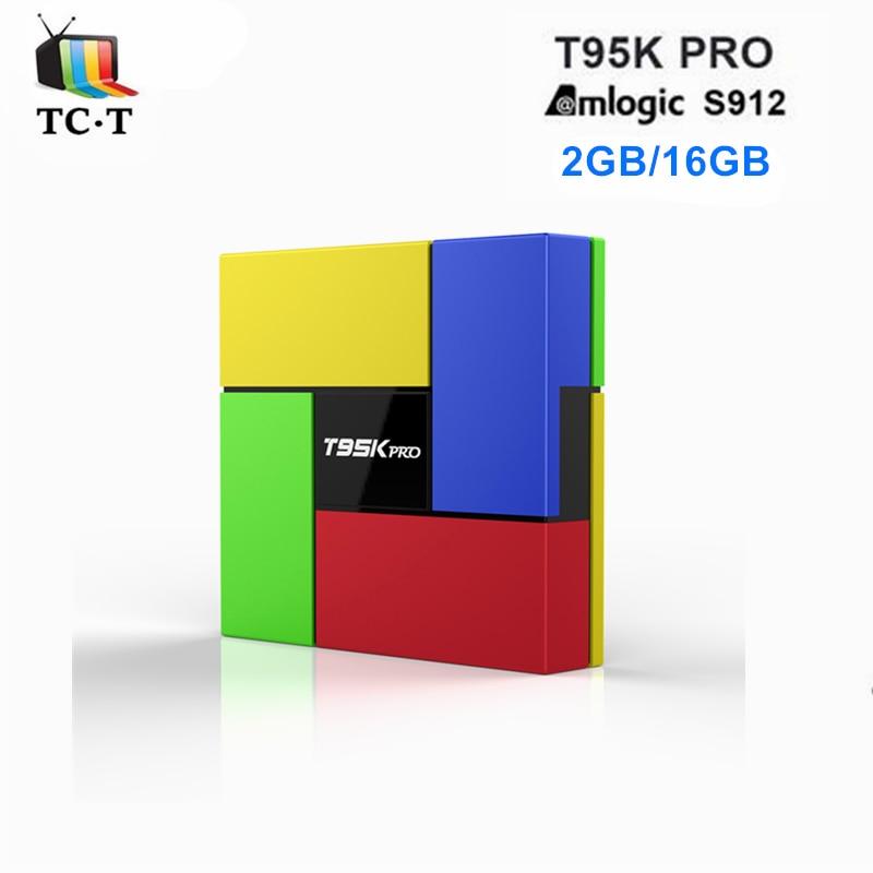 T95 T95K pro S912 2 GB 16 GB CAJA de la TV Android 6.0 Octa Core Wifi 2.4G/5 GHz
