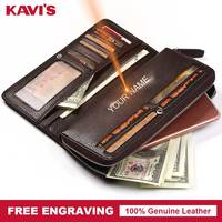 KAVIS Free Engraving Genuine Leather Long Wallet Men Coin Purse Male Clutch Walet Portomonee Fashion Business Perse Name Vallet