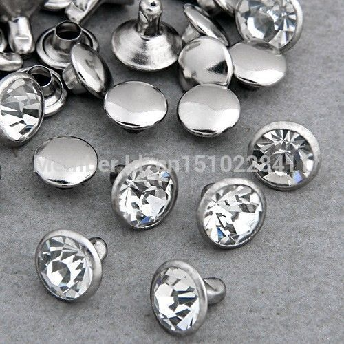 100 Sets 4mm CZ Crystals Rhinestone Rivets Rapid Silver Nailhead Spots Studs DIY Shipping Free
