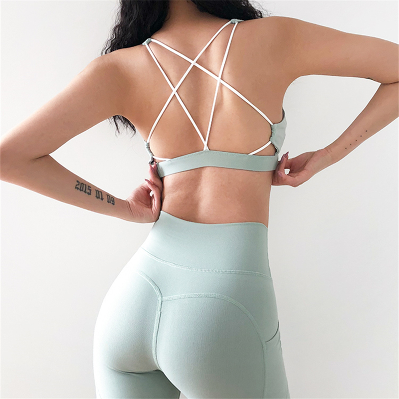 Mint Green 2 Pieces Sport Suit Women Cross Strappy Sports Bra And Stretch Yoga Leggings With Side Pockets Fitness Clothing