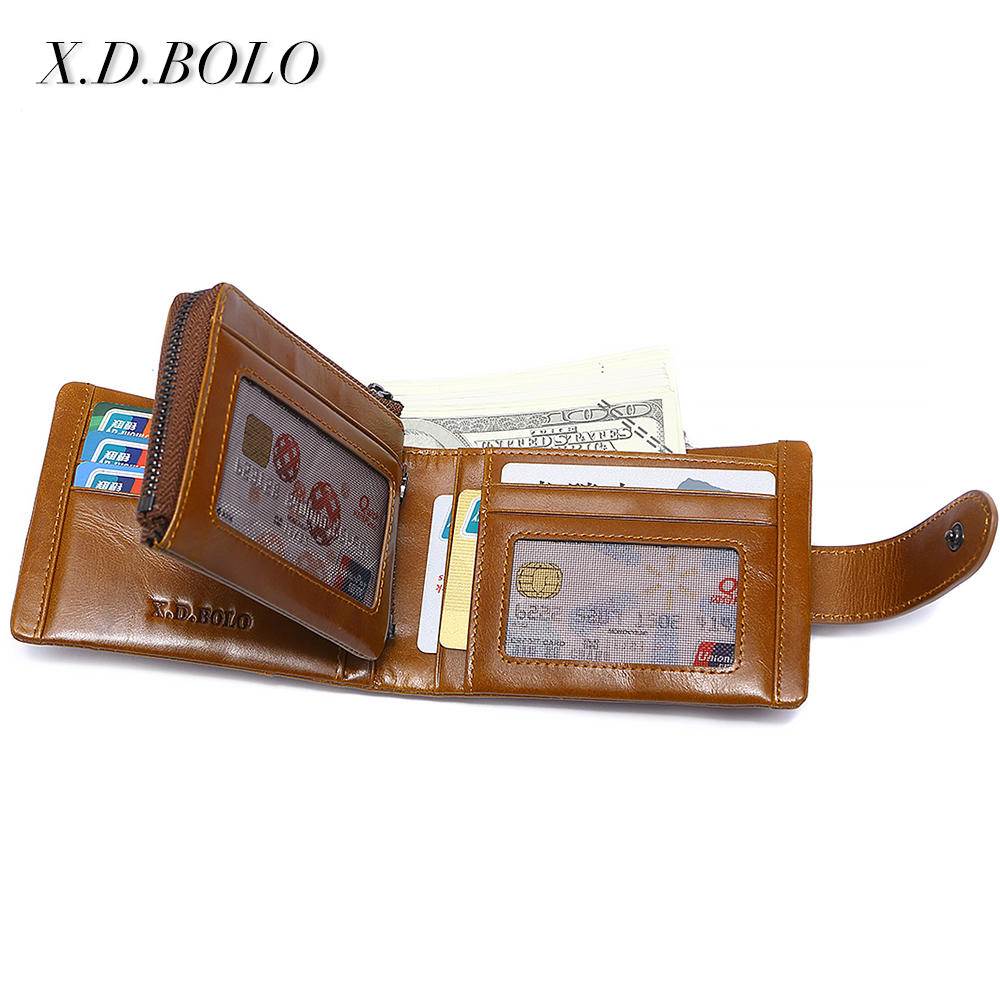 X.D.BOLO Genuine Cowhide Leather Men Wallet Trifold Wallets Fashion Design Brand Purse ID Card Holder With Zipper Coin Pocket