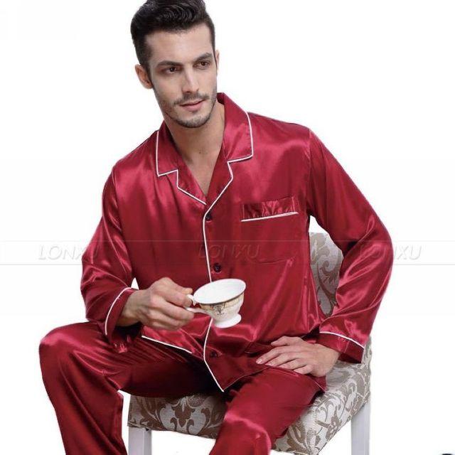 Luxury Men s Silk Satin Pajamas Pyjamas Set Sleepwear Set Loungewear ... 09f582e8c