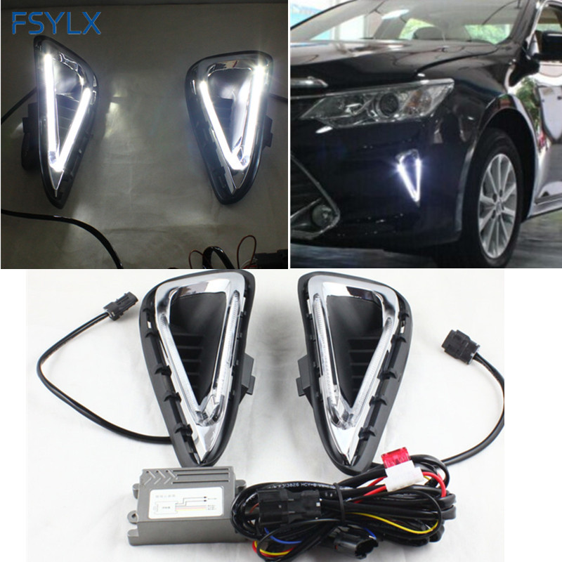 FSYLX For Toyota Camry DRL LED Light DRL fog lamps Car Styling Crystal LED daytime running lights for Toyota Camry 2014-2015 DRL car styling fog lights for toyota camry 2012 2014 pair of 12v 55w front fog lights bumper lamps daytime running lights