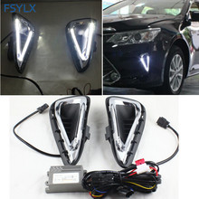 FSYLX For Toyota Camry DRL LED Light DRL fog lamps Car Styling Crystal LED daytime running lights for Toyota Camry 2014-2015 DRL