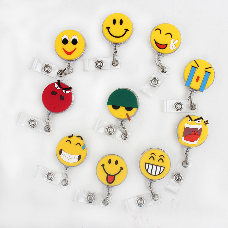 Funny Expression Retractable Plastic Badge Holder Reel Student Nurse Use For Exhibition ID Enfermera Name Card Office Chest card