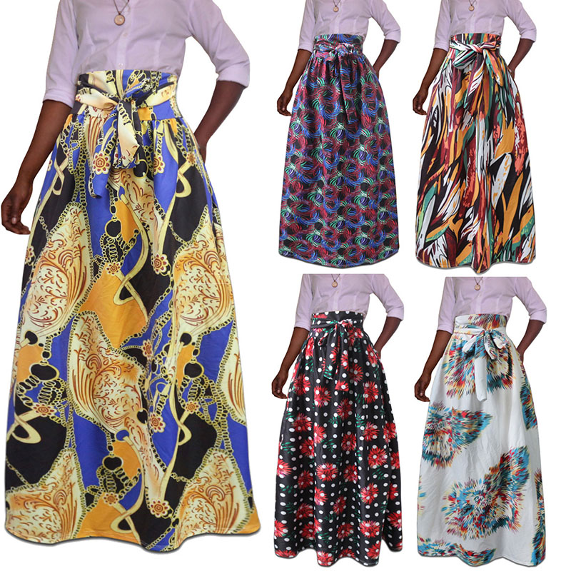 Boho All Over Wax Print Maxi Skirt For Women African Vogue High Waist Strappy A Line Pleated Skirt Pocket Ladies Floral Print
