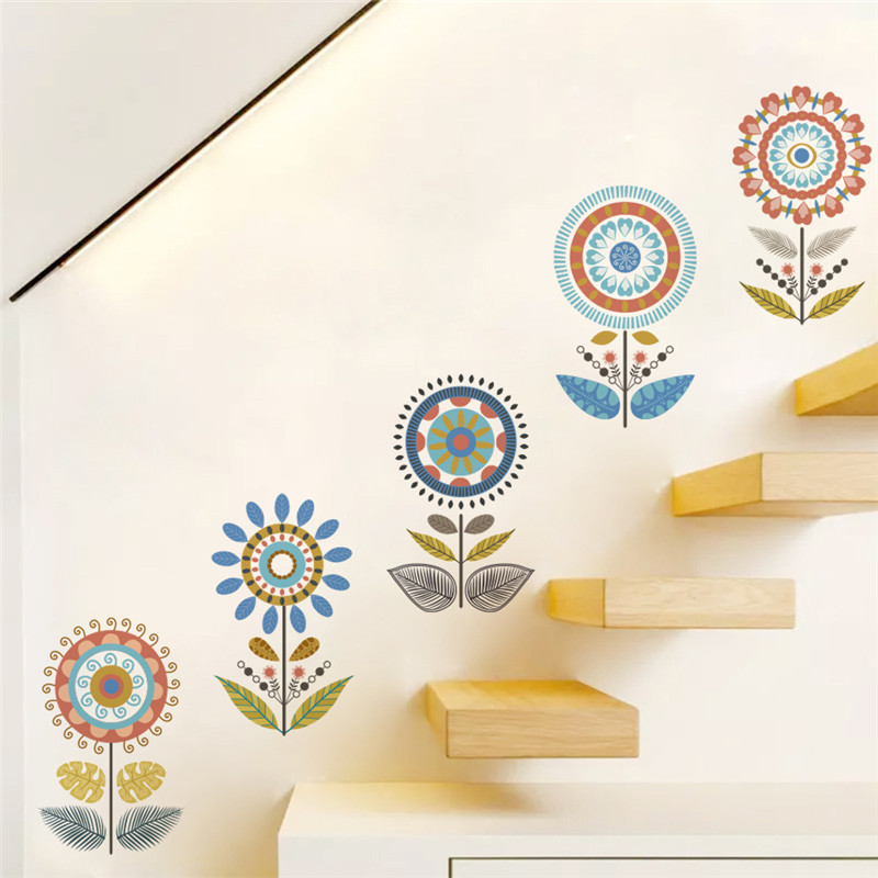 flower floral wall decal stickers adesivo de parede pvc sticker stairs window nursery home decor